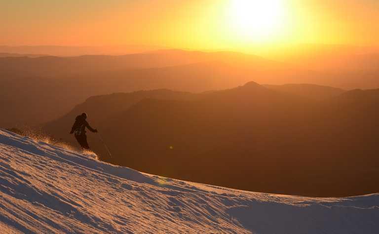 ski sunset