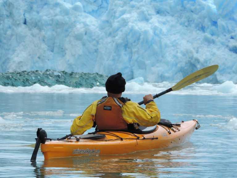 Kayaker in front of San Rafael Glacier