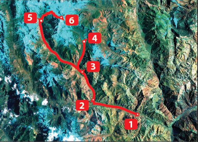 Aconcagua Normal Route Map - Small - SWX