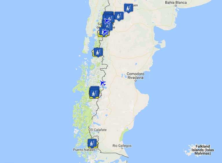 Patagonia Fishing Map