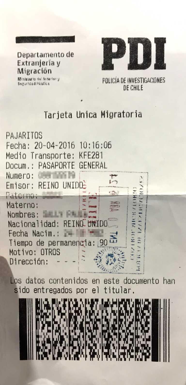 Chilean Tourist Card